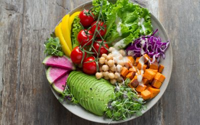 beautiful salad with avocado, lettuce, tomato, bell peppers, and much more
